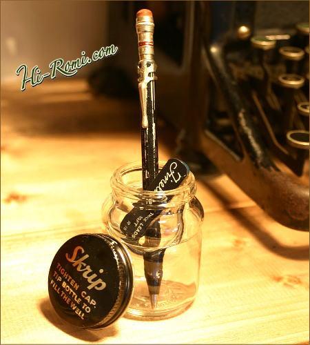 アメリカ ヴィンテージのガラスインクボトル、シャーペン用の芯、シャーペン 2