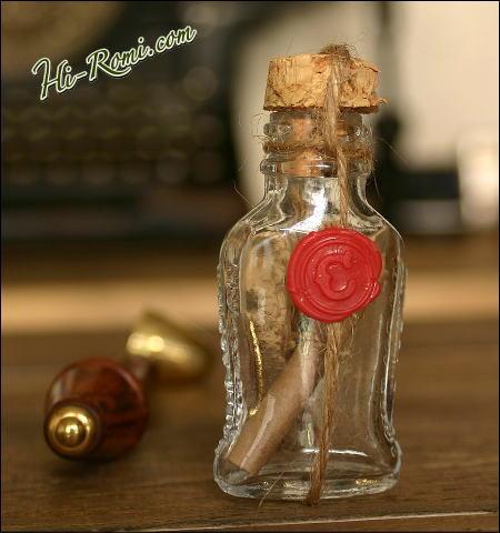 シーリングスタンプで小さなメディソンボトルに蝋封