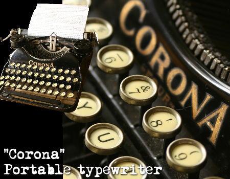 アメリカ タイプライター CORONA 4 木製オリジナルケース付/アンティーク
