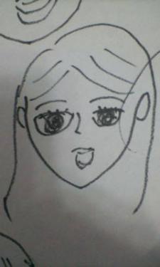 京子、実子を描く