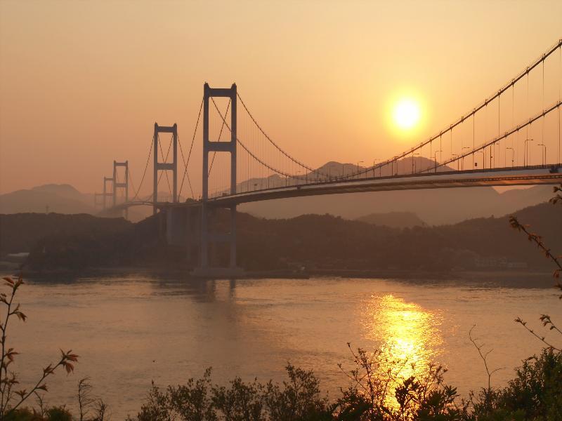 糸山公園 来島海峡大橋 日の出