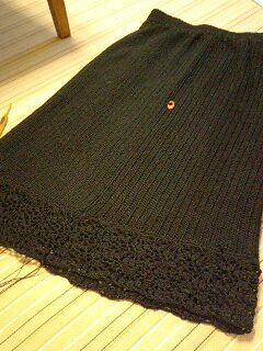 スカート縁編み