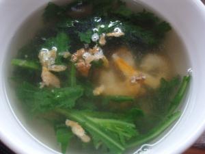 干しエビと春菊のスープ