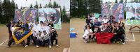 中学生の記念撮影