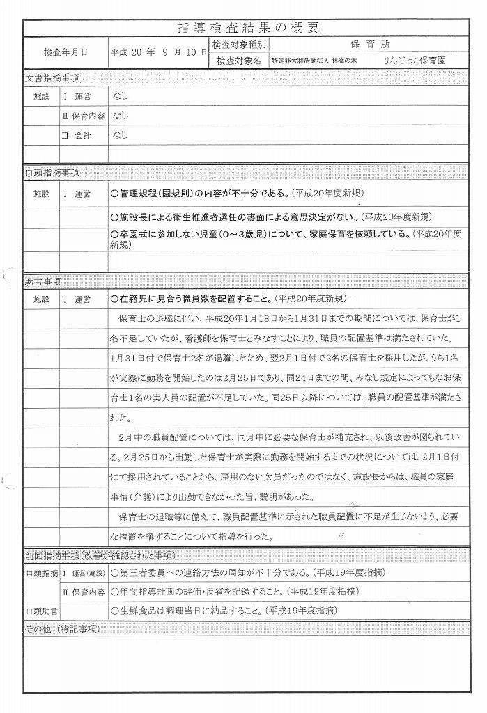 認可・指導検査結果の概要(一覧)