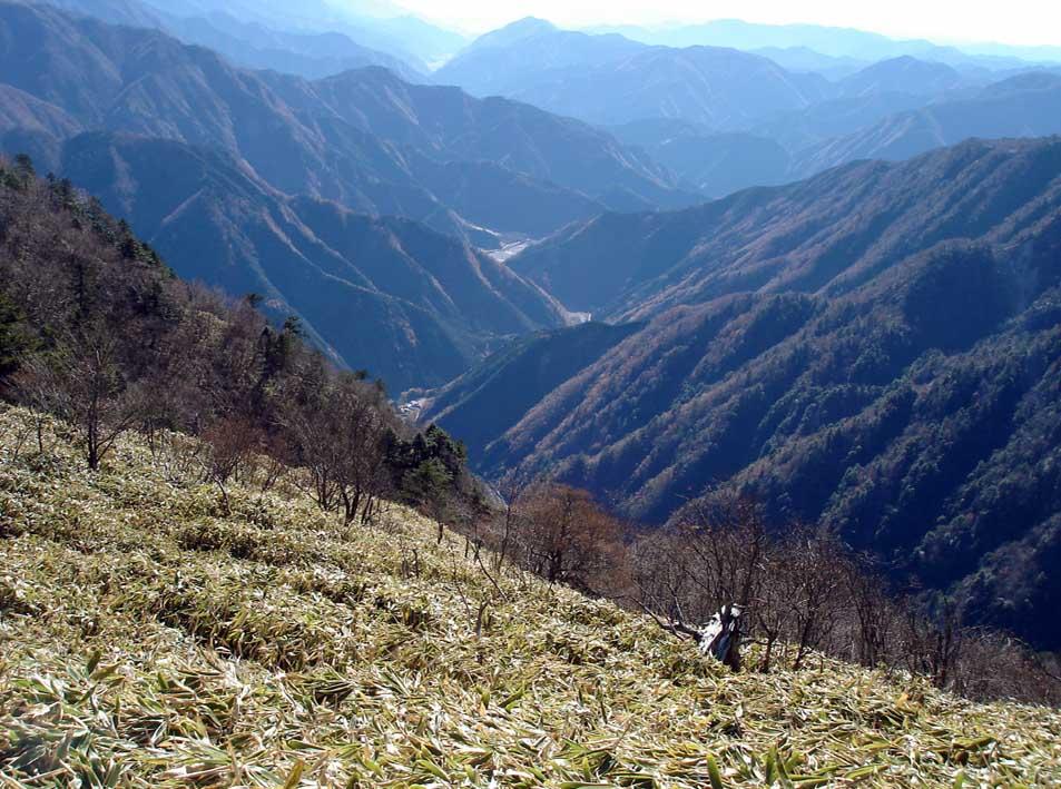 八紘嶺登山路から見下ろす安倍川山系