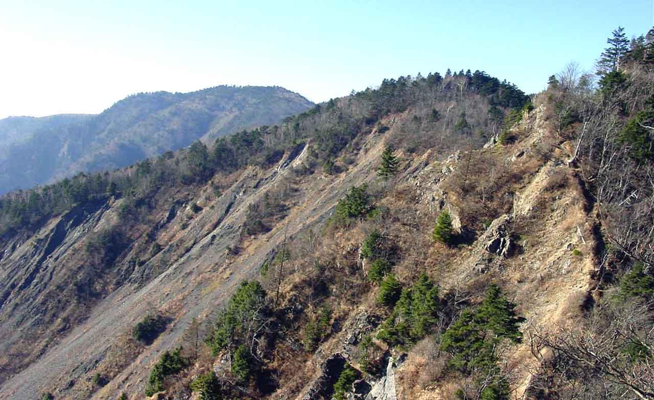 大谷崩八紘嶺捜索 013 大谷嶺の登りから山伏方面