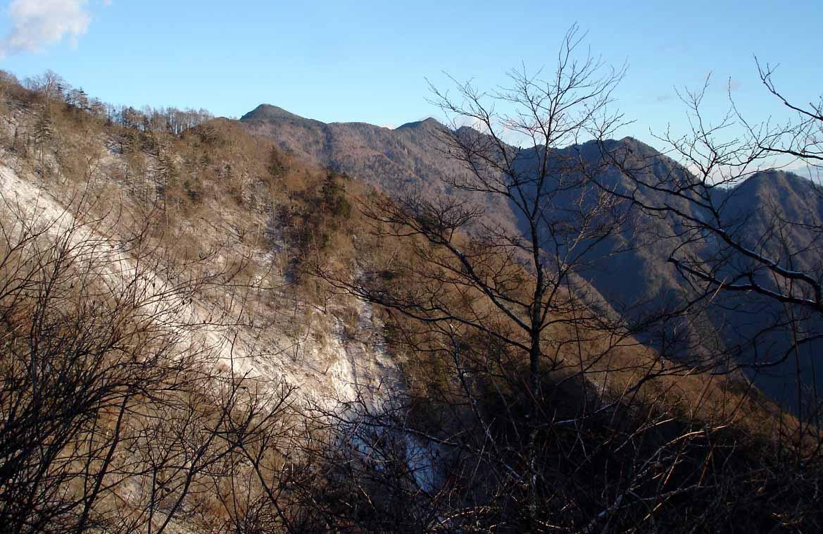 八紘嶺への途中から七面山方面