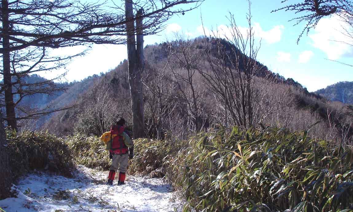七面山への道から見る八紘嶺