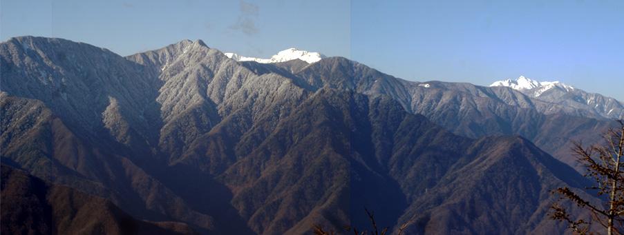 希望峰から笊ケ岳、悪沢岳、塩見岳