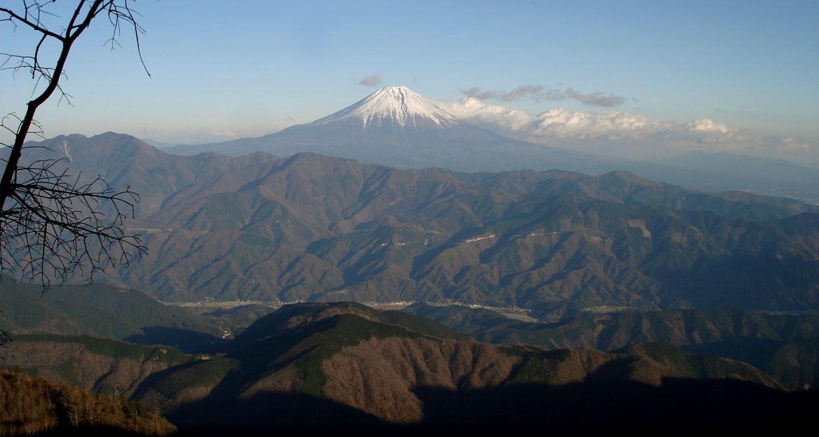 七面山東面から富士山