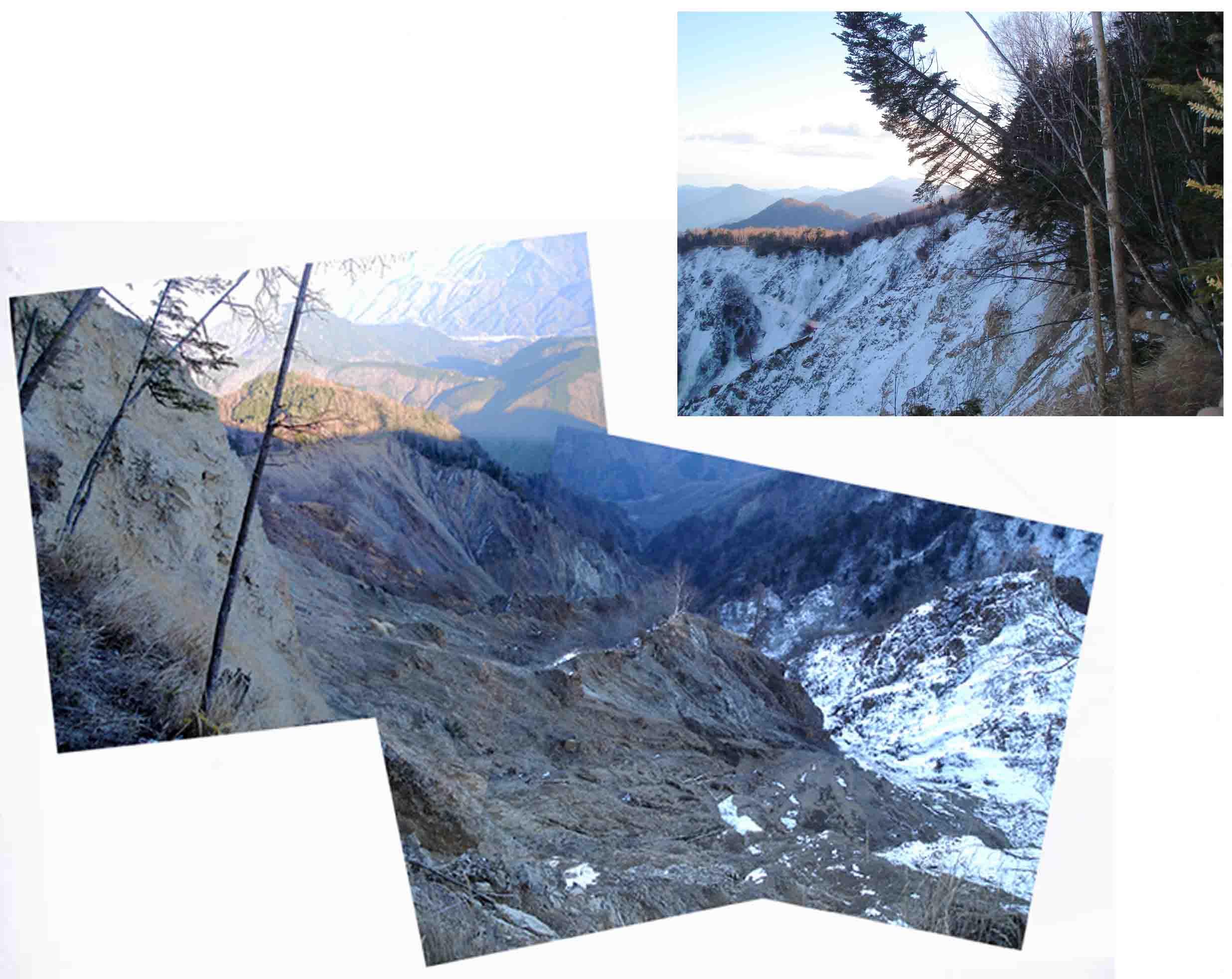 七面山東面の崩落谷の様子