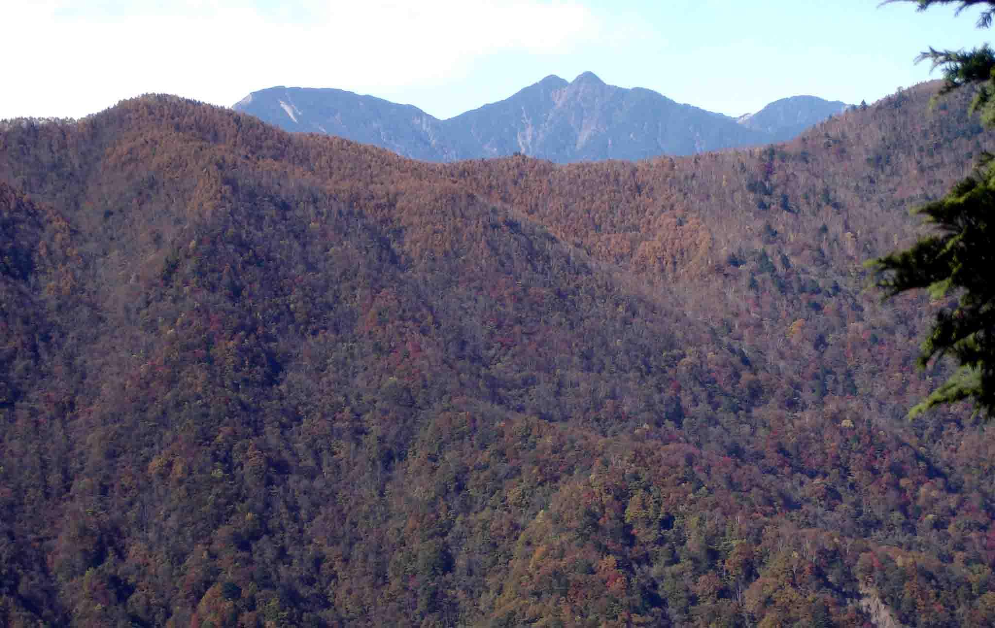 DSC01564 バラの段付近から笊ヶ岳と七面山への尾根