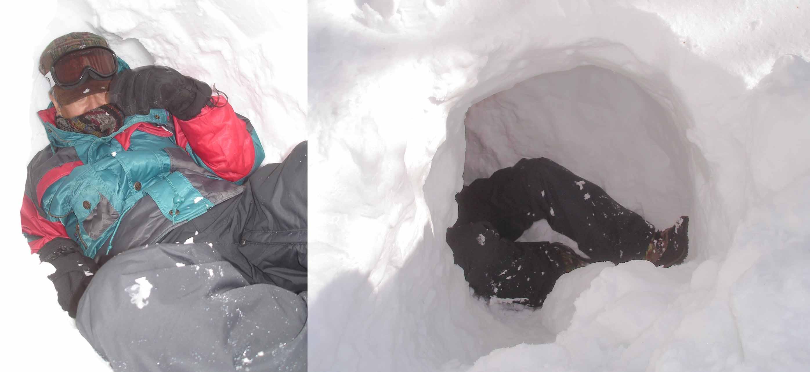 3つ目の簡易雪洞にて