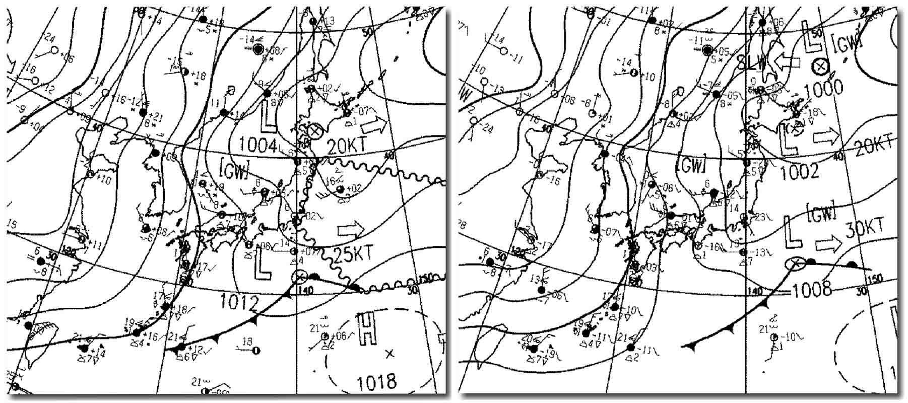 30日日中の地上天気図