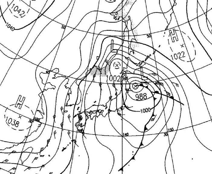 1月10日9時の予想天気図