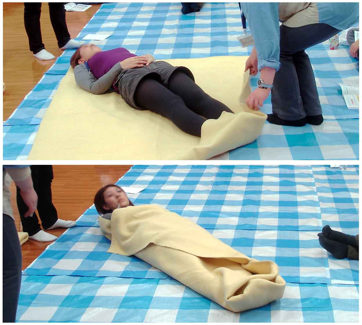 傷病者管理(毛布1枚による保温)