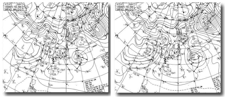 12日9時~15時の天気図