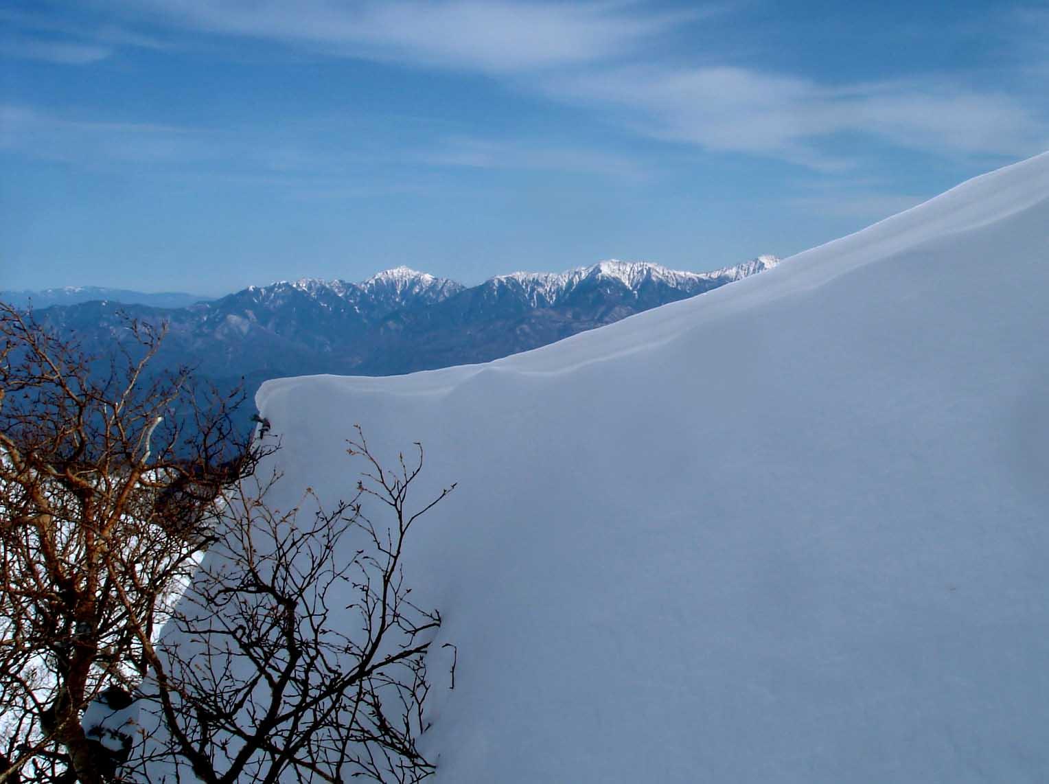 雪庇の縁に出来た小さな雪庇 DSC05519