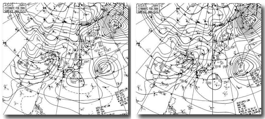 12日21時~13日3時の天気図