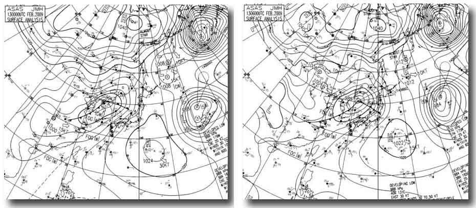 13日9時~15時の天気図