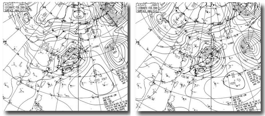 13日21時~14日3時の天気図