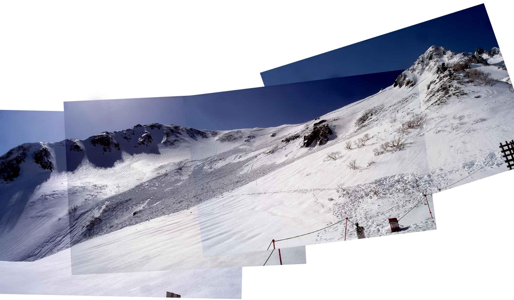 14日 極楽平下部の雪崩跡