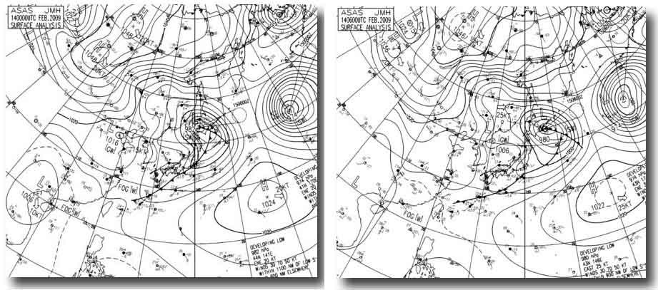 14日9時~15時の天気図