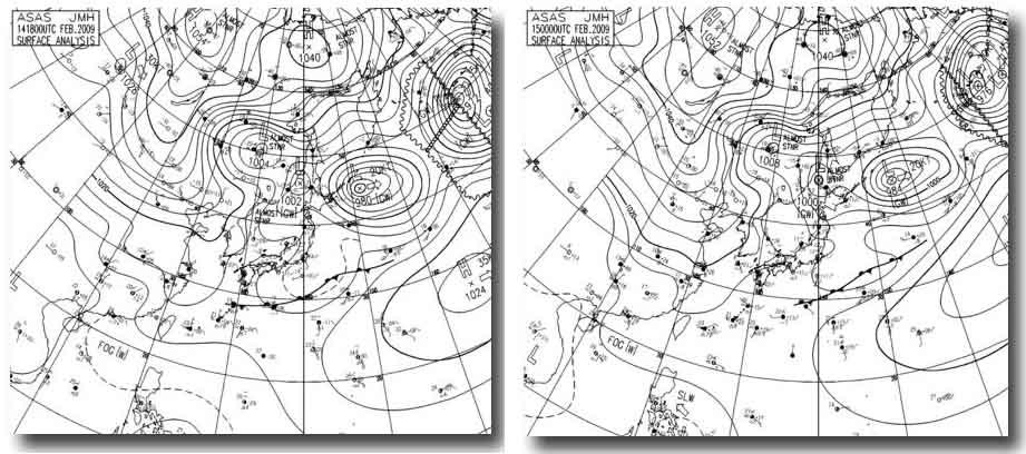 15日3時~9時の天気図