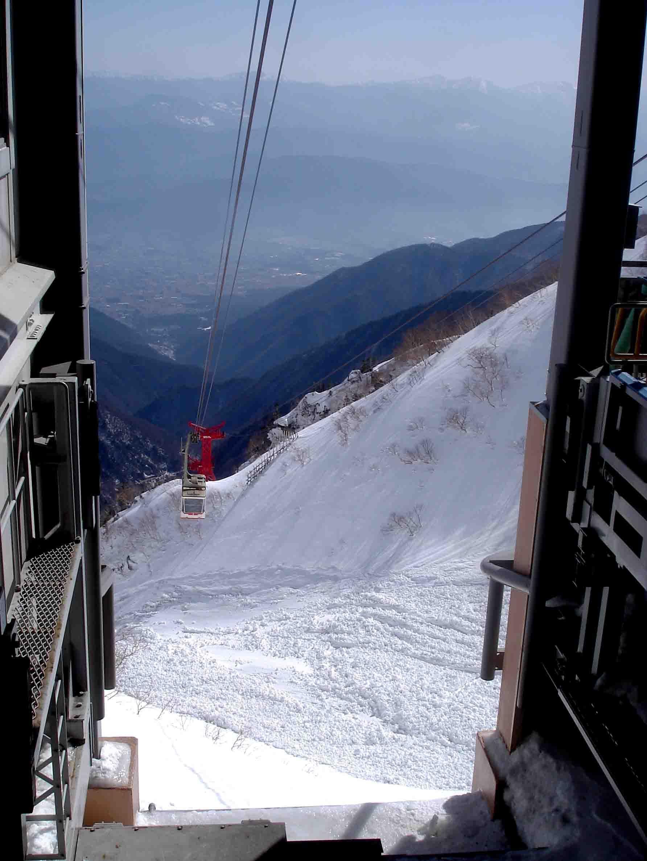 ケーブル下の雪崩跡と伊那谷の向こうの南ア DSC06014