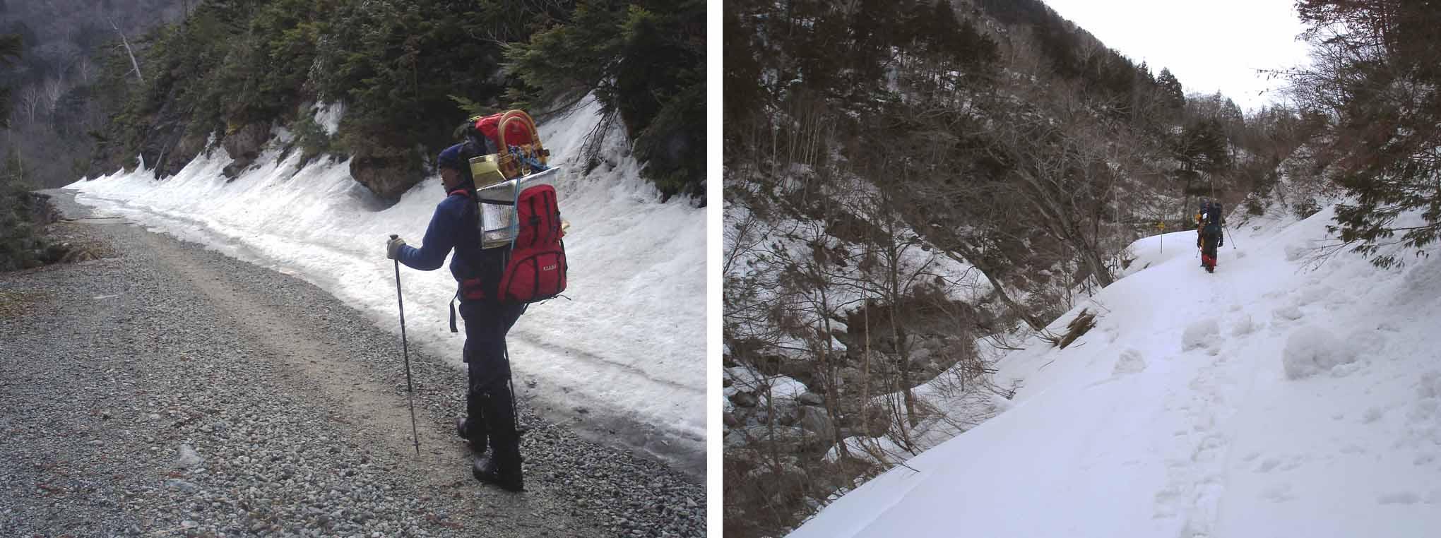 4月30日と4月4日の林道雪の状態