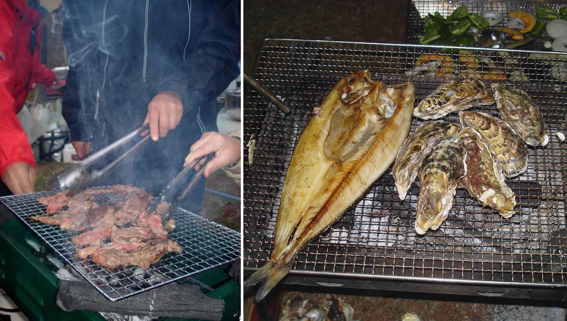 3日夜(肉とカキとホッケ)