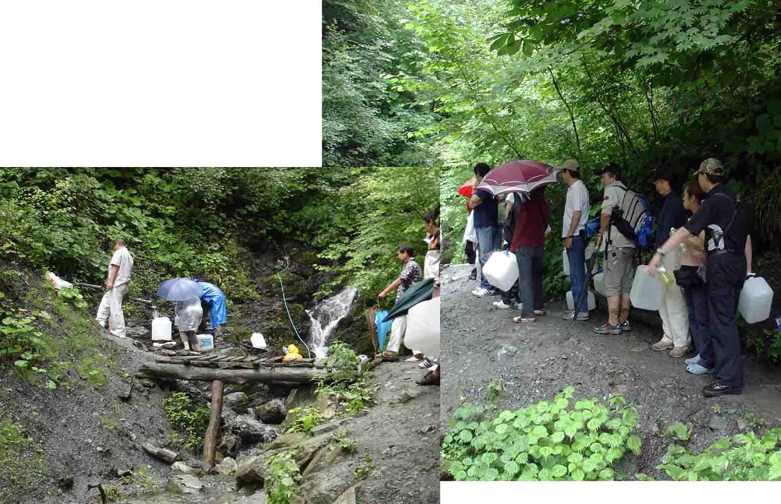 分杭峠の水汲み
