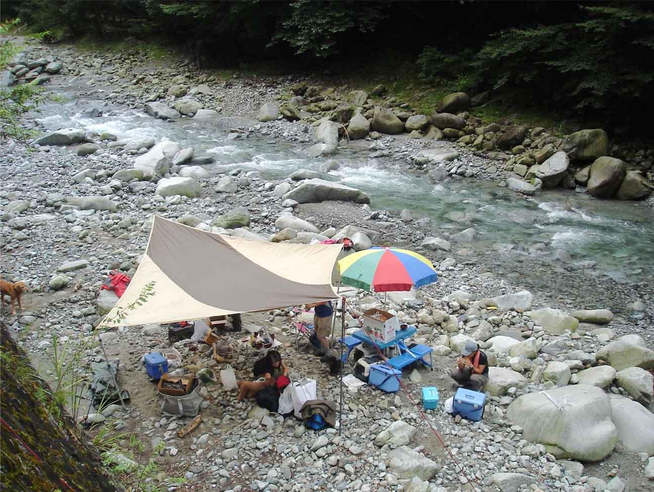 ④キャンプ設営完了