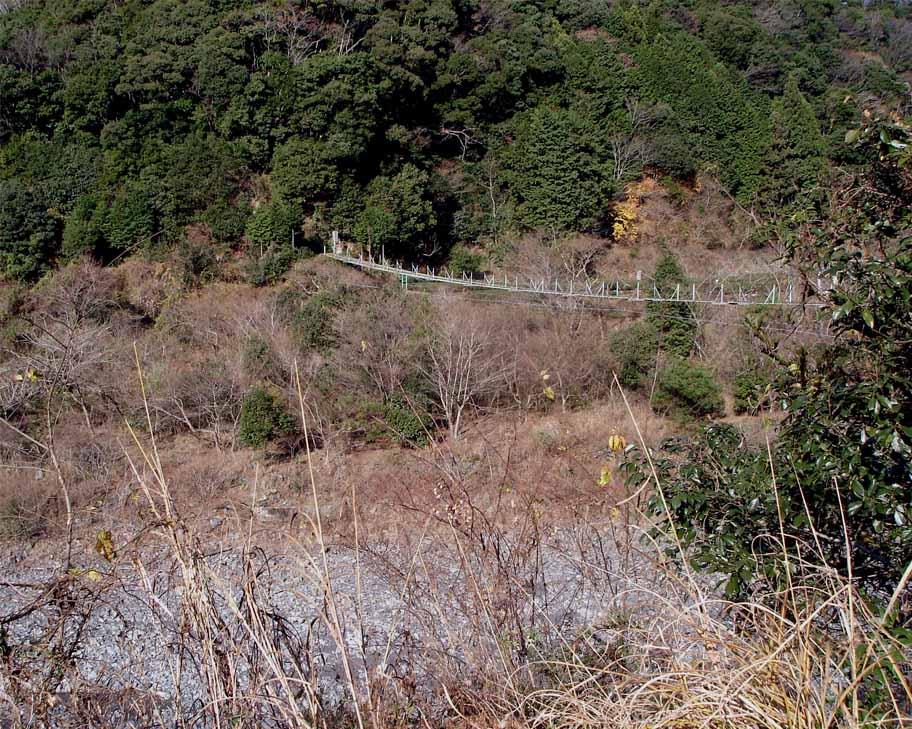 上渡の吊橋① 下流側から見たところ