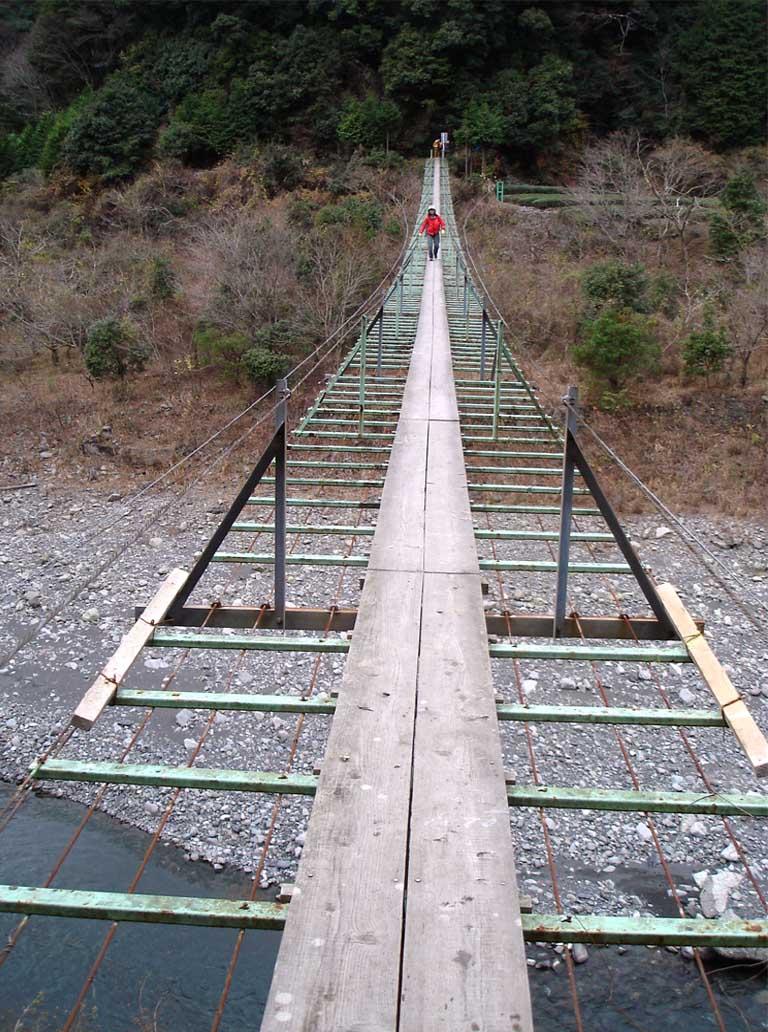 上渡の吊橋⑥ 一人ずつが原則です