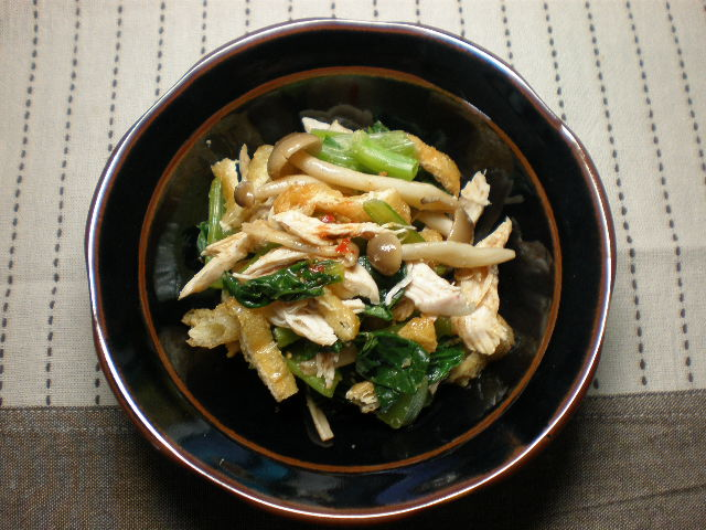 小松菜と鶏肉し豆板醤あえ