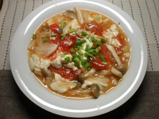 豆腐とトマトの中華あんかけ