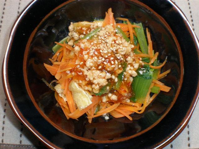 小松菜とニンジンの肉あんかけ