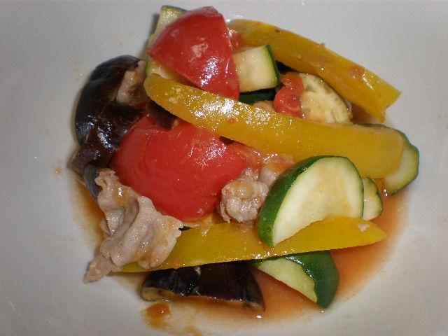 夏野菜と豚肉の味噌炒め風