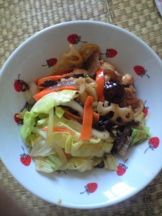 五目野菜と鶏の豆板醤炒め