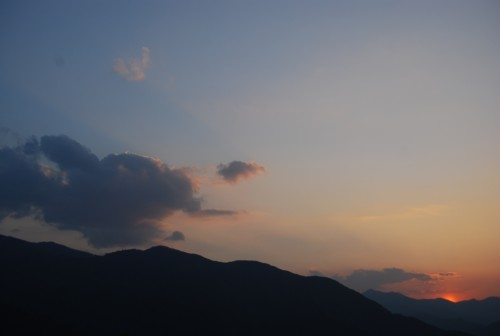 夕日が沈む時