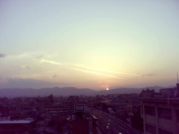 屋上からの夕陽