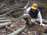 ナメコの菌打ち作業