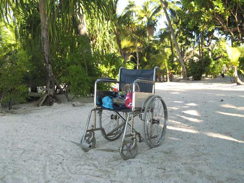 車椅子 海