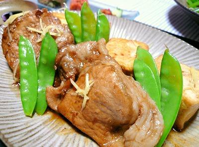 080604お豆腐と豚肉のしょうが焼き
