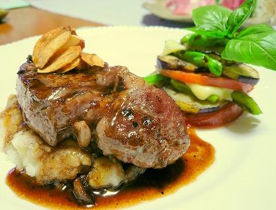 080816ステーキと野菜ミルフィーユ