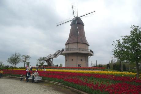 園内のオランダの風車