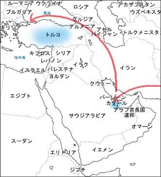 カタール、トルコ地図