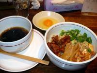 甘辛モツ和え麺・魚介スープ付き